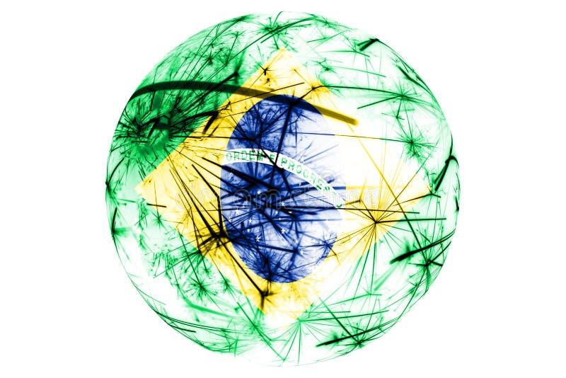Bola chispeante de la bandera de los fuegos artificiales del Brasil Ornamento del Año Nuevo, de la Navidad y del día nacional y c ilustración del vector