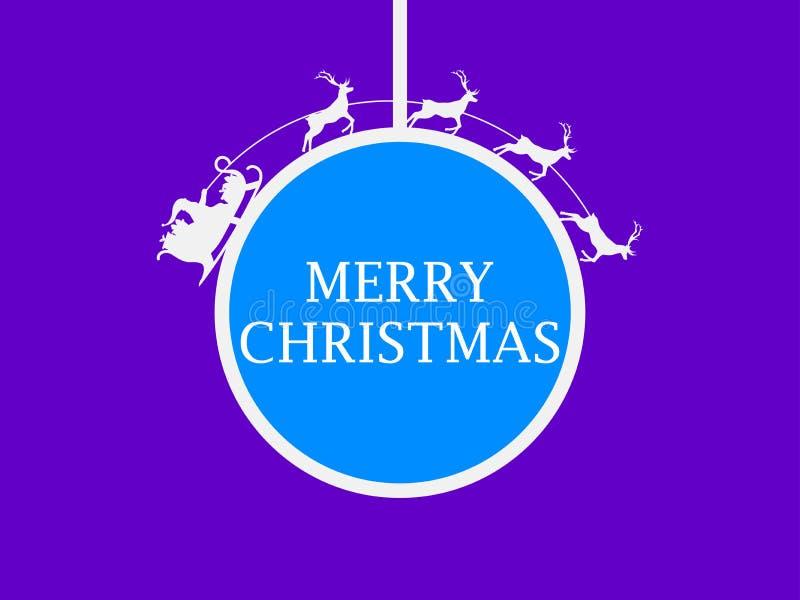 Bola colgante de la Navidad Santa Claus en un trineo con el reno alrededor de la bola Tarjeta de felicitación Vector stock de ilustración