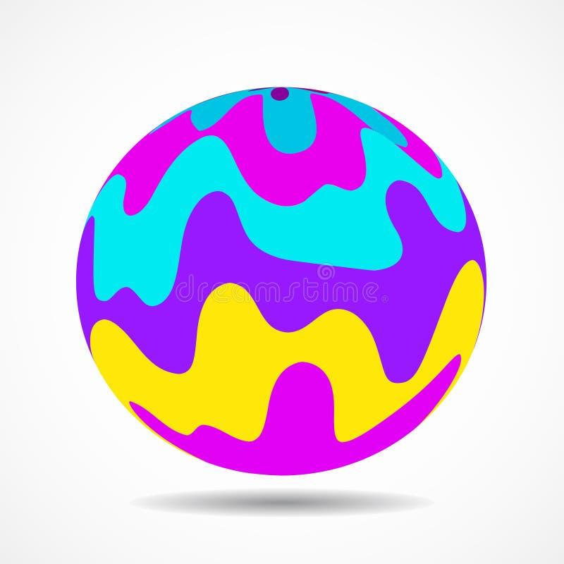 Bola colorida abstrata com ondas listradas ilustração royalty free