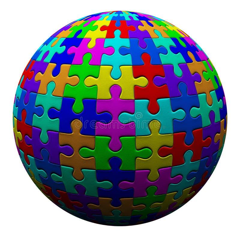 Bola colorida del rompecabezas, 3d fotografía de archivo libre de regalías