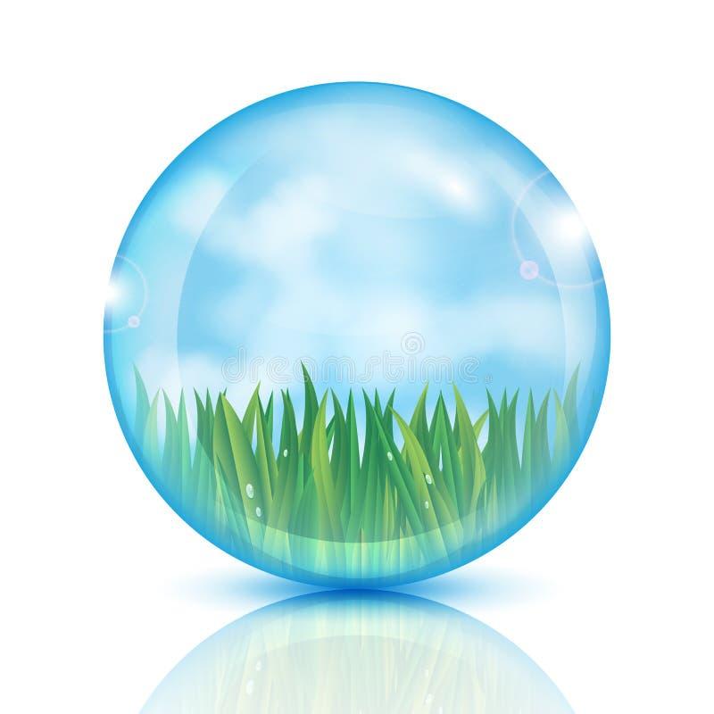 Bola con la hierba verde y el cielo azul stock de ilustración