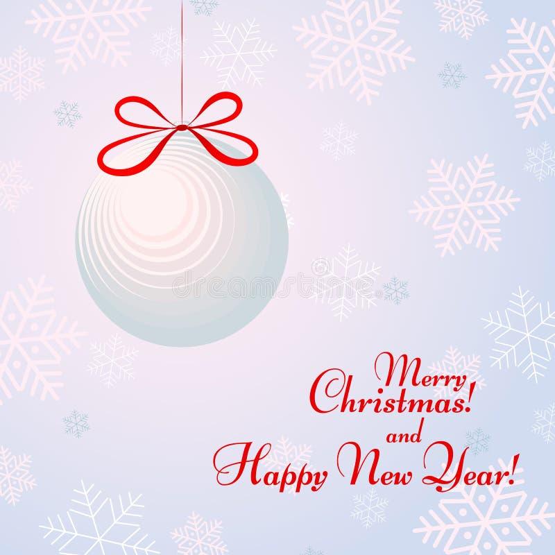Bola con un arco en el fondo con los copos de nieve con el fondo de la Feliz Año Nuevo del texto y del invierno de la Feliz Navid stock de ilustración