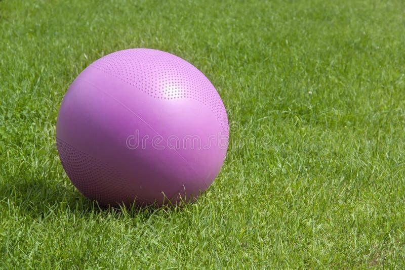 Bola cor-de-rosa da aptidão no fundo da grama verde fotografia de stock