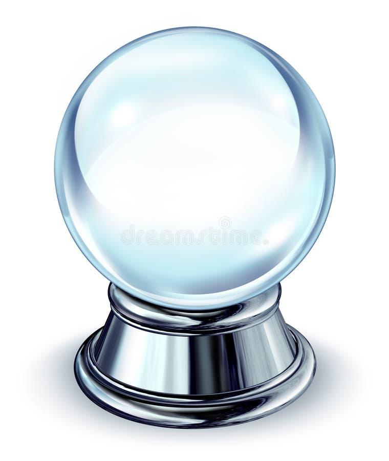 Bola cristalina con con base metálica stock de ilustración