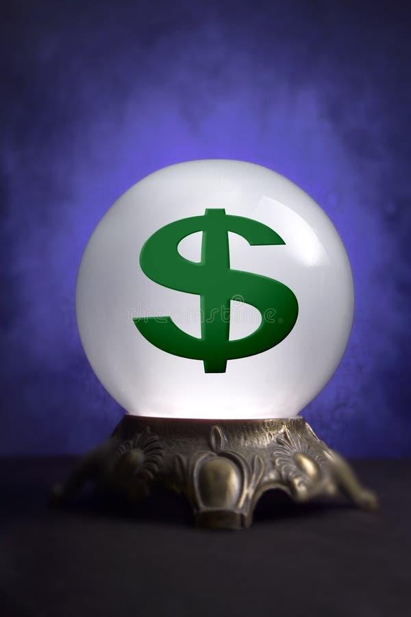Bola cristalina con la muestra de dólar fotografía de archivo libre de regalías