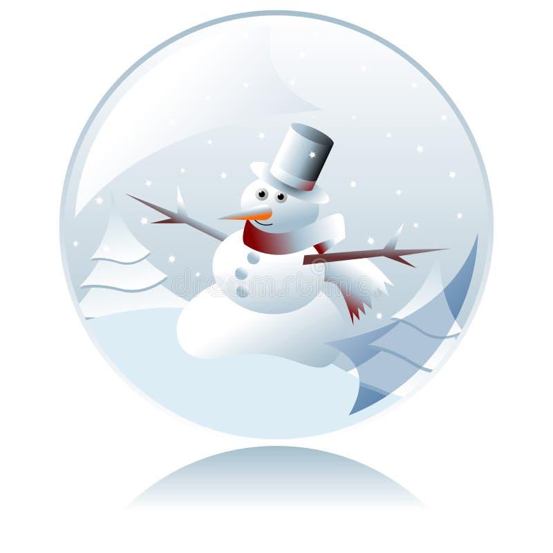 Bola cristalina del muñeco de nieve de la Navidad libre illustration