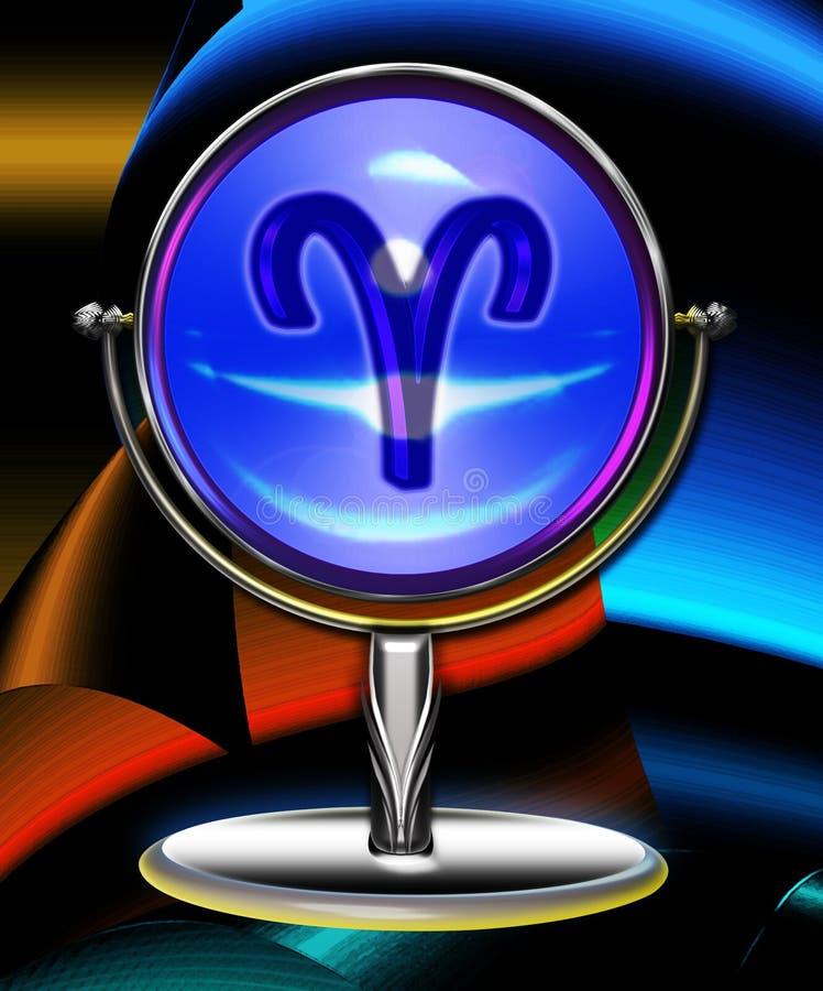 Bola cristalina del zodiaco del aries ilustración del vector