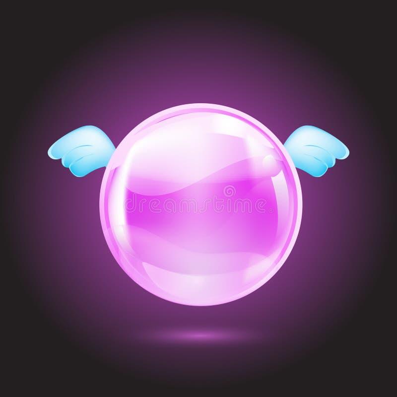 Bola cristalina rosada stock de ilustración