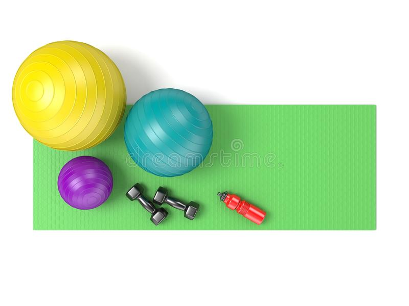 Bola da aptidão, pesos e garrafa de água plástica na ioga verde m ilustração royalty free
