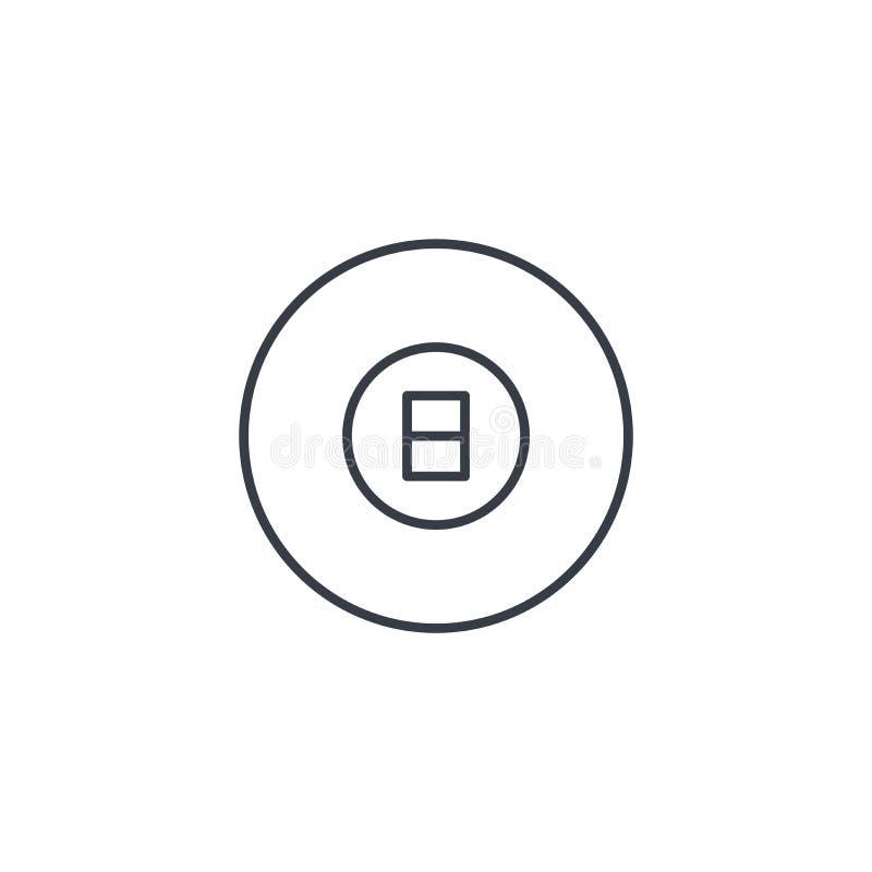 Bola da associação 8, linha fina ícone do símbolo do bilhar Símbolo linear do vetor ilustração stock