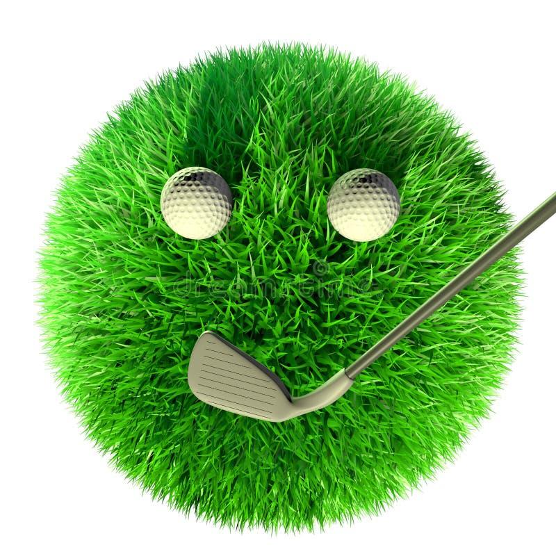 Bola da grama com equipamento de golfe do golfe imagens de stock royalty free