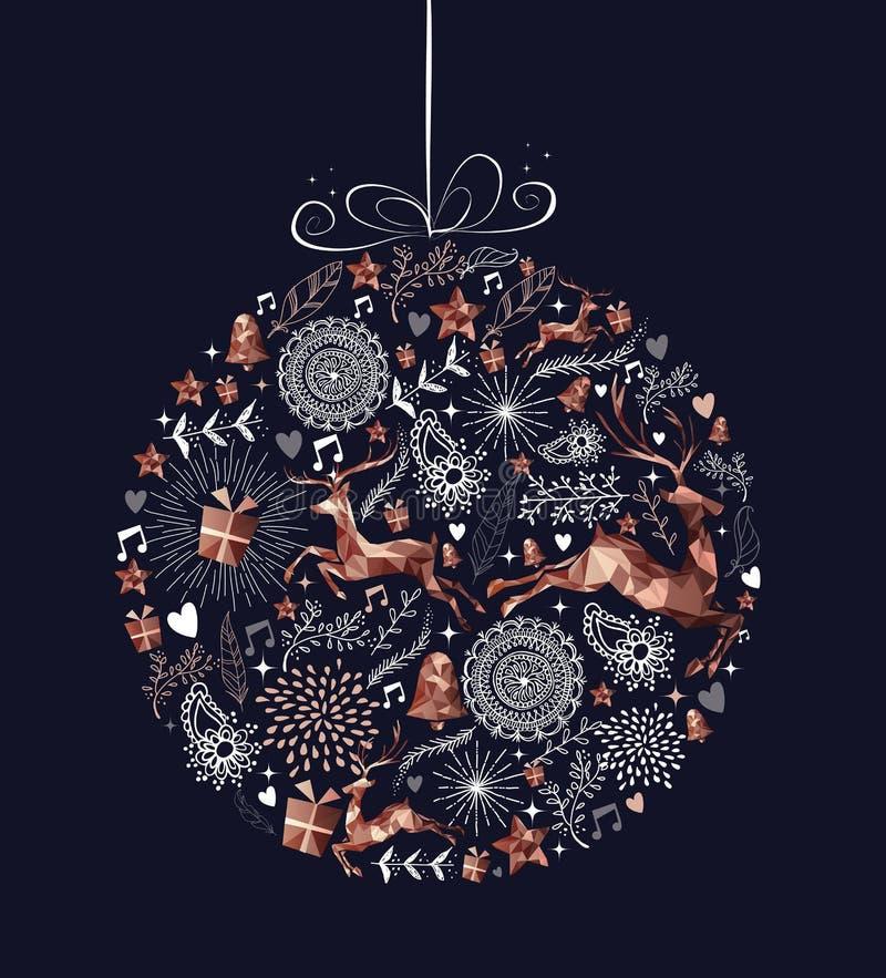 Bola da quinquilharia do Natal com os baixos cervos polis de cobre ilustração do vetor