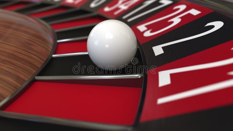 A bola da roda de roleta do casino bate o preto 2 dois rendição 3d foto de stock