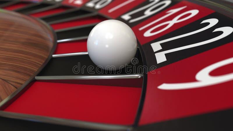 A bola da roda de roleta do casino bate 22 vinte e dois pretos rendição 3d imagem de stock royalty free