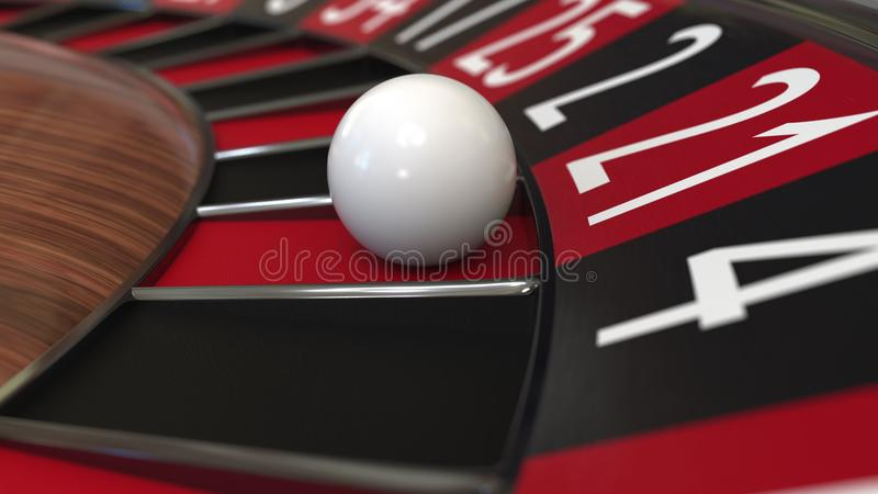 A bola da roda de roleta do casino bate 21 vinte e um vermelhos, rendição 3D imagens de stock