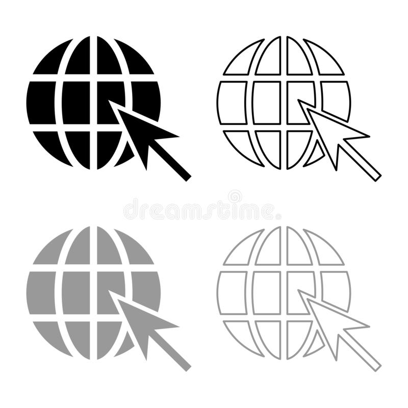 A bola da terra e a esfera do conceito do Internet da Web da seta e o esboço globais do ícone do símbolo do Web site da seta ajus ilustração royalty free