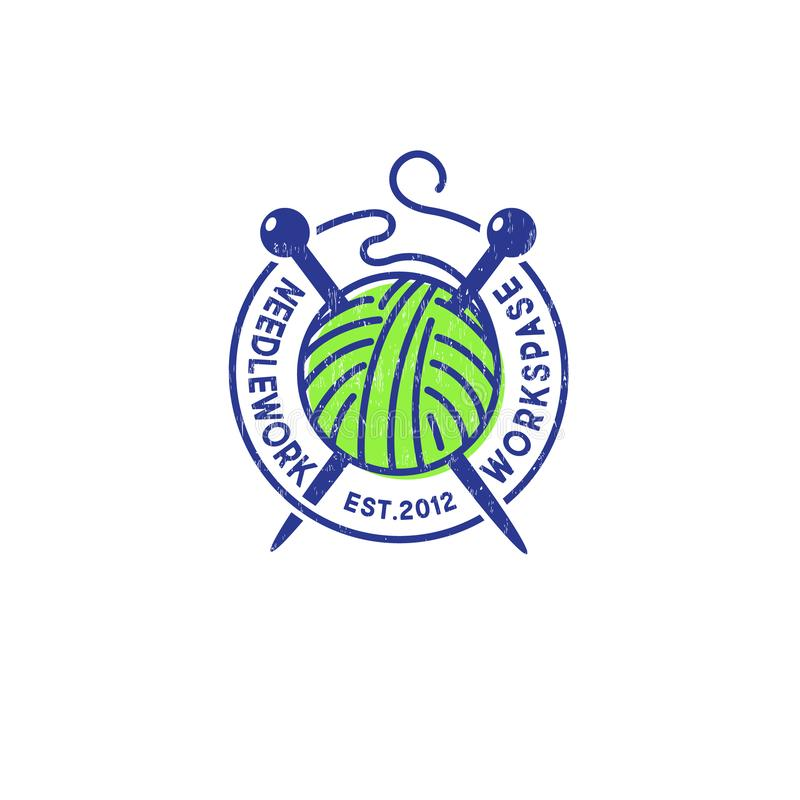 Bola de agulhas do fio e de confec??o de malhas Logotipo do bordado A comunidade feito a m?o do produto ilustração do vetor