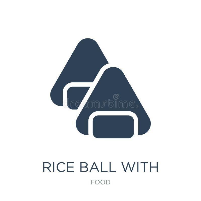bola de arroz con el icono de la alga marina en estilo de moda del diseño bola de arroz con el icono de la alga marina aislado en stock de ilustración