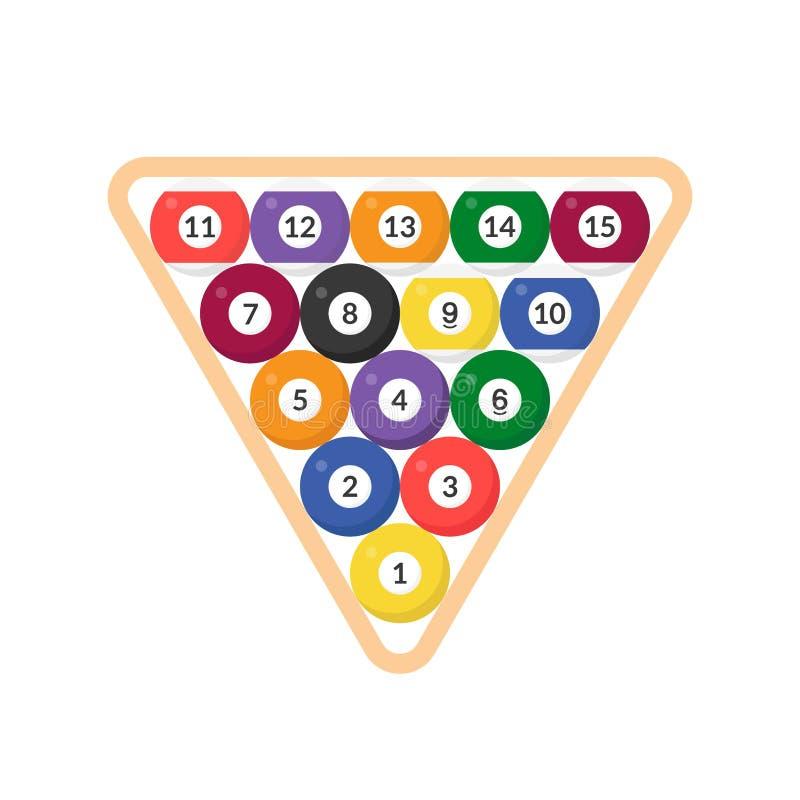 Bola de bilhar da sequência com números no ícone triangular do quadro, fl ilustração stock