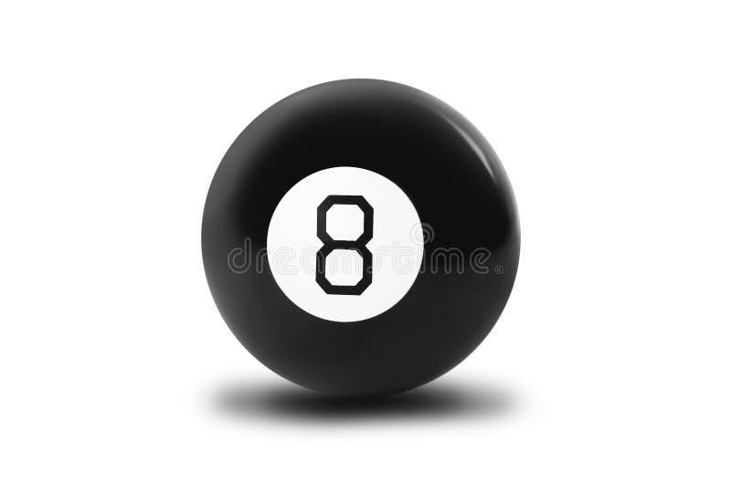 Bola de bilhar mágica número oito foto de stock