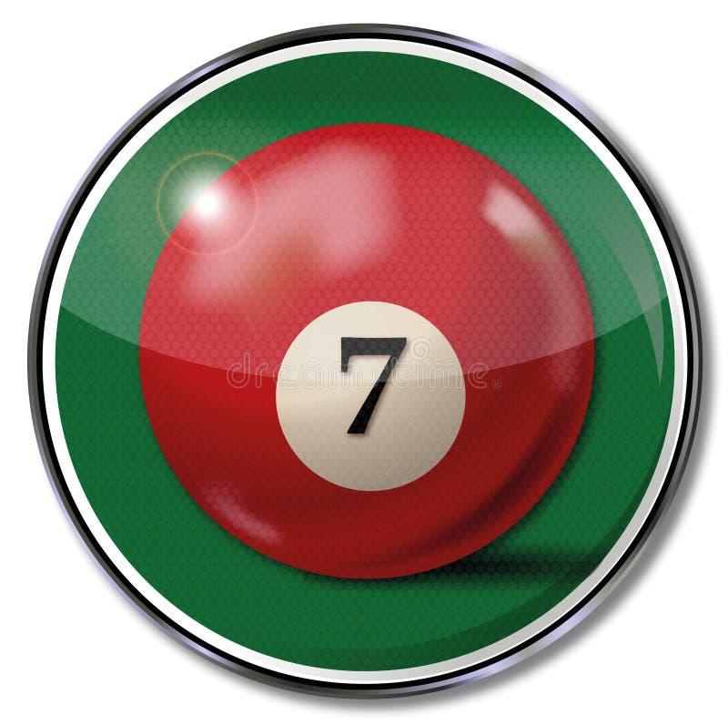 bola de bilhar Vinho-vermelha número 7 ilustração do vetor