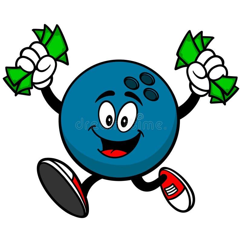 Bola de boliches com dinheiro ilustração royalty free