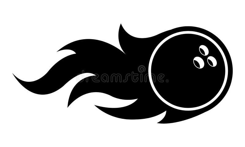 Bola de boliches com ilustração do vetor da silhueta das chamas ilustração stock