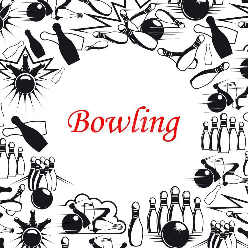 Bola de boliches e cartaz dos pinos para o projeto de jogo do esporte ilustração stock