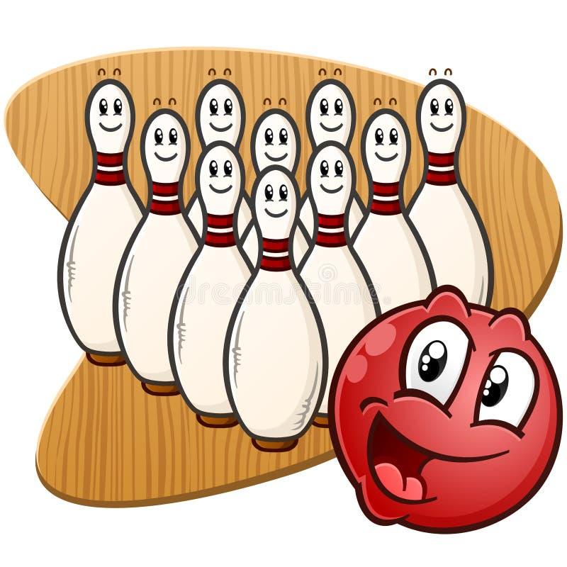 Bola de boliches e personagens de banda desenhada dos pinos em um fundo de madeira retro ilustração stock