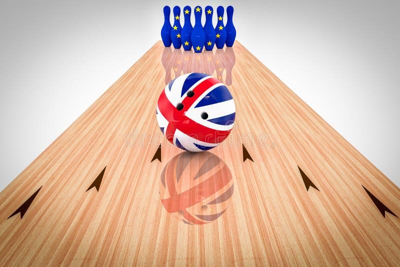Bola de bolos con la bandera de Reino Unido y pernos de bolos con la bandera de la Comunidad Europea ilustración del vector