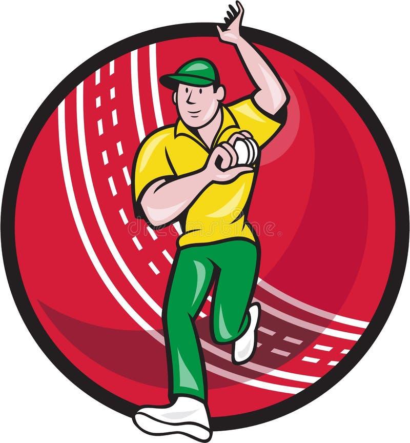 Bola de bolos del fast bowler del grillo Front Cartoon libre illustration