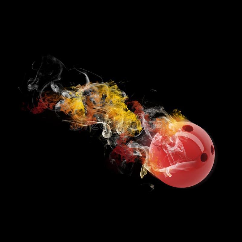 Bola de bolos en el humo coloreado ilustración del vector