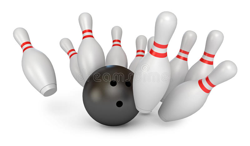 Bola de bowling que causa um crash nos pinos ilustração stock