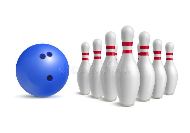 Bola de bowling y bolos libre illustration