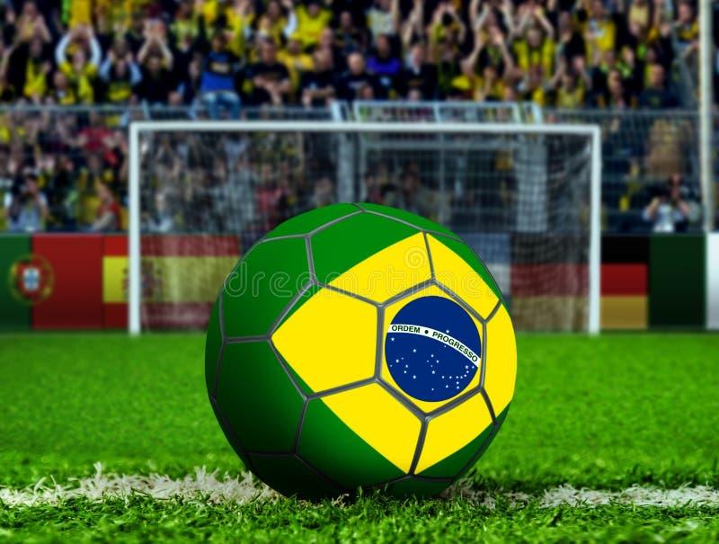 Bola de Brasil com cargo e corvos do objetivo ilustração royalty free