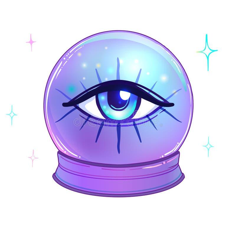 Bola de cristal azul com com todo o interior de vista do olho isolado no wh ilustração stock