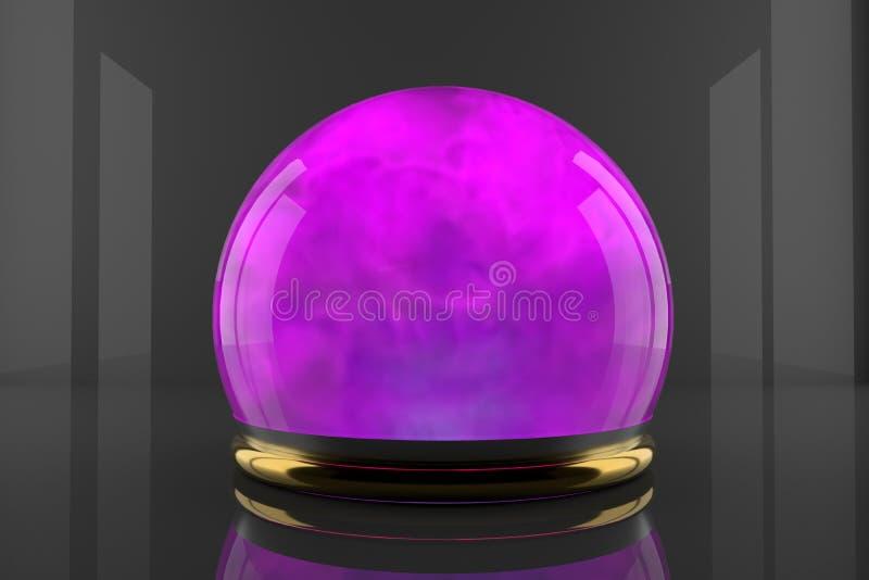 Bola de cristal com movimento das partículas das emanações Gás ciano da cor dentro de uma esfera de vidro Projeto do fumo luminos ilustração do vetor