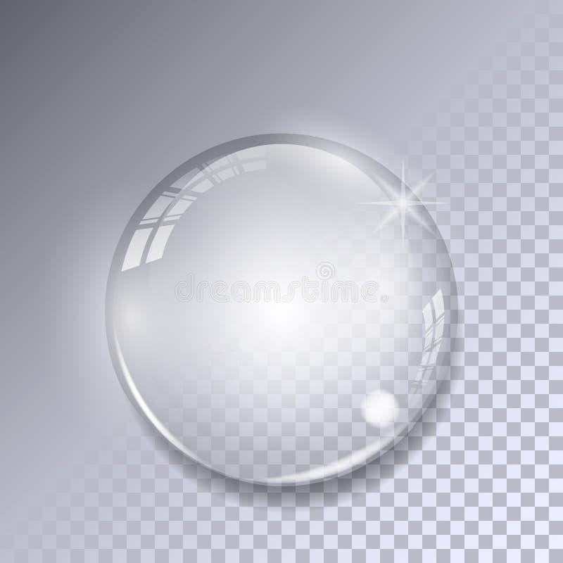 Bola de cristal com reflexões no fundo transparente Esfera de vidro realística ilustração do vetor