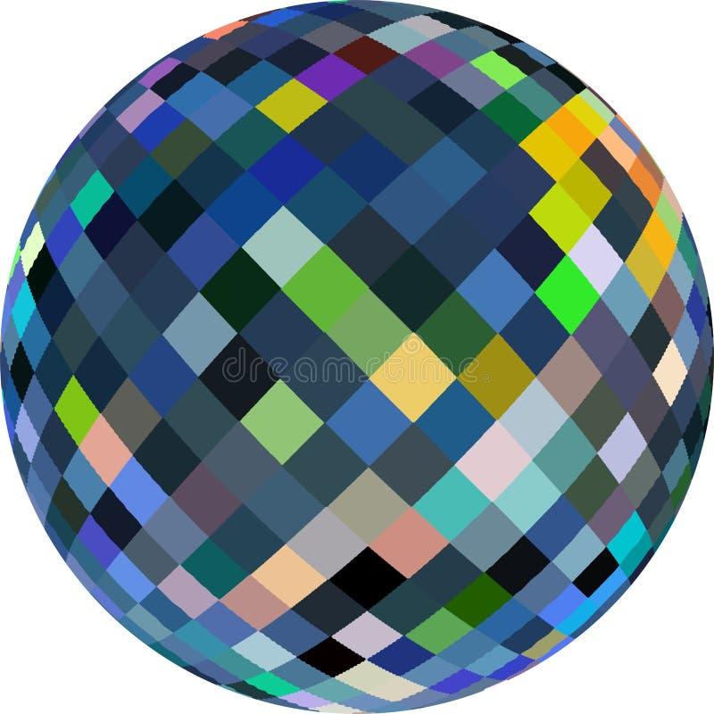 Bola de cristal 3d en el fondo blanco aislado Modelo verde amarillo azul del mosaico de cristal del reflejo stock de ilustración