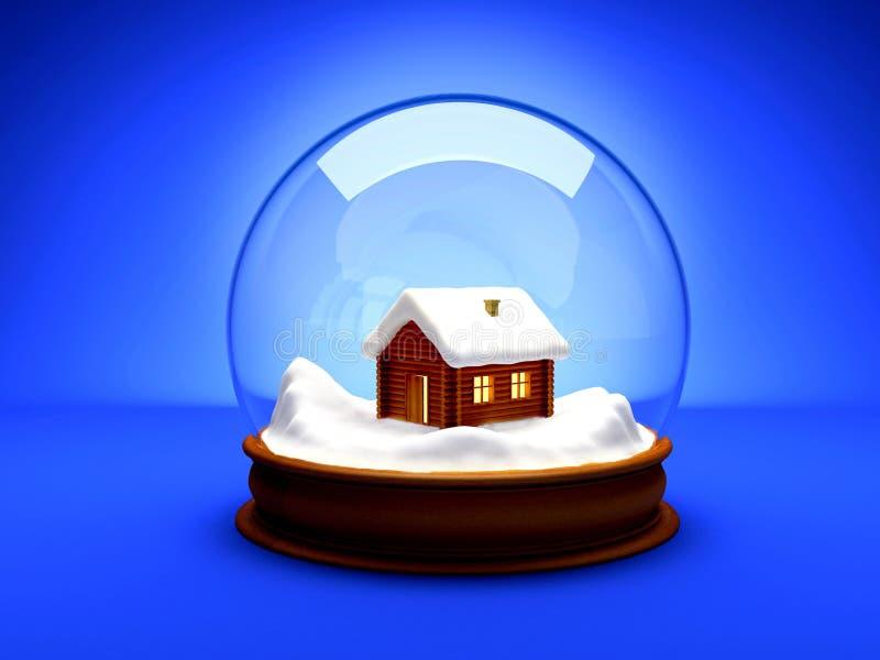 Bola de cristal de la burbuja de la Navidad stock de ilustración
