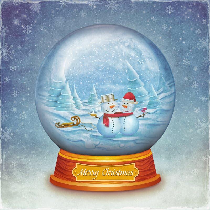 Bola de cristal de la feliz navidad con los mu ecos de - Bola nieve cristal ...