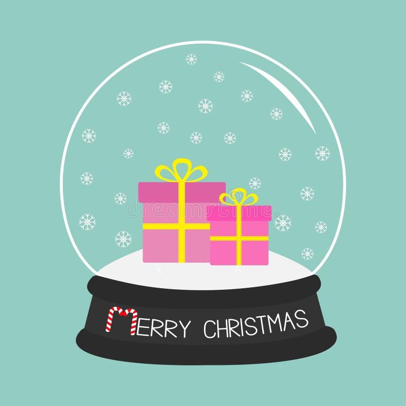 Bola de cristal determinada de la caja de regalo con los copos de nieve Fondo para una tarjeta de la invitación o una enhorabuena ilustración del vector