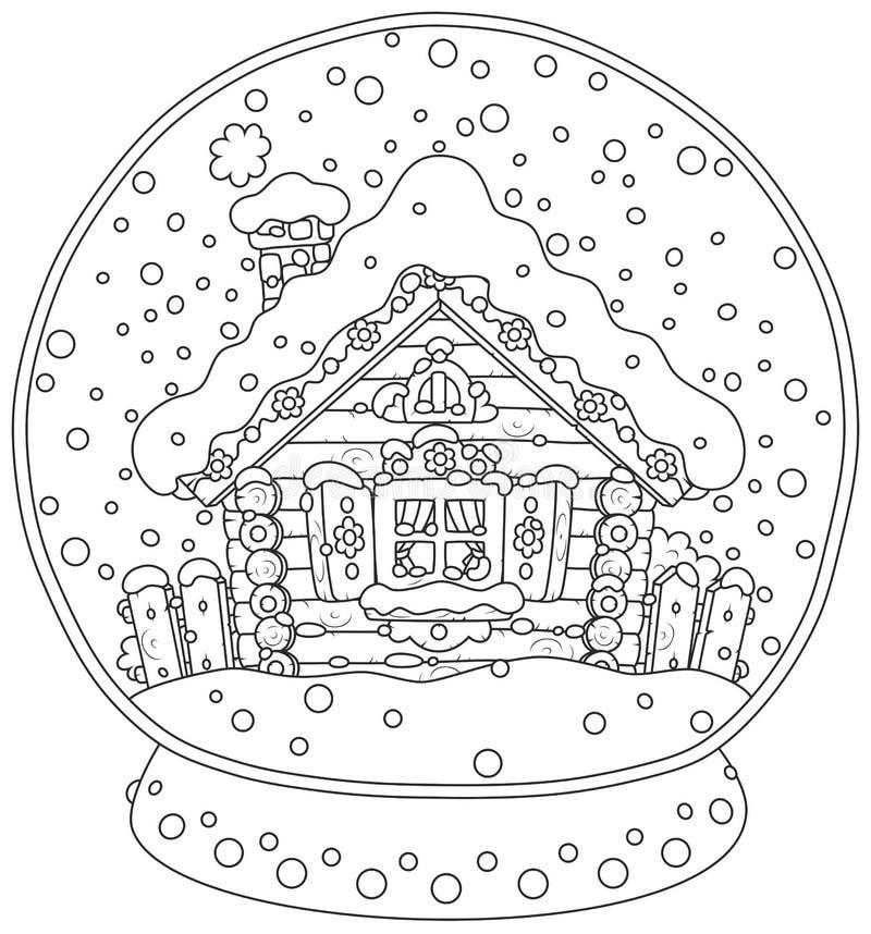 Bola de cristal do Natal com uma cabana coberto de neve ilustração do vetor