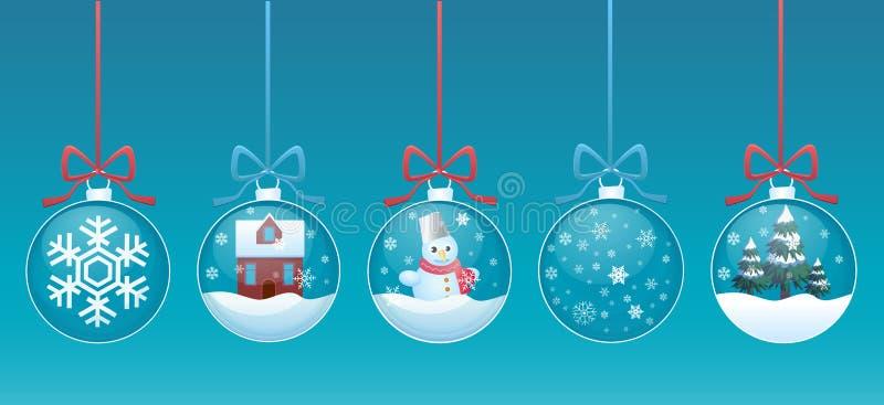 Bola de cristal de la Feliz Navidad con el sistema del interior de los juguetes Ilustración del vector stock de ilustración
