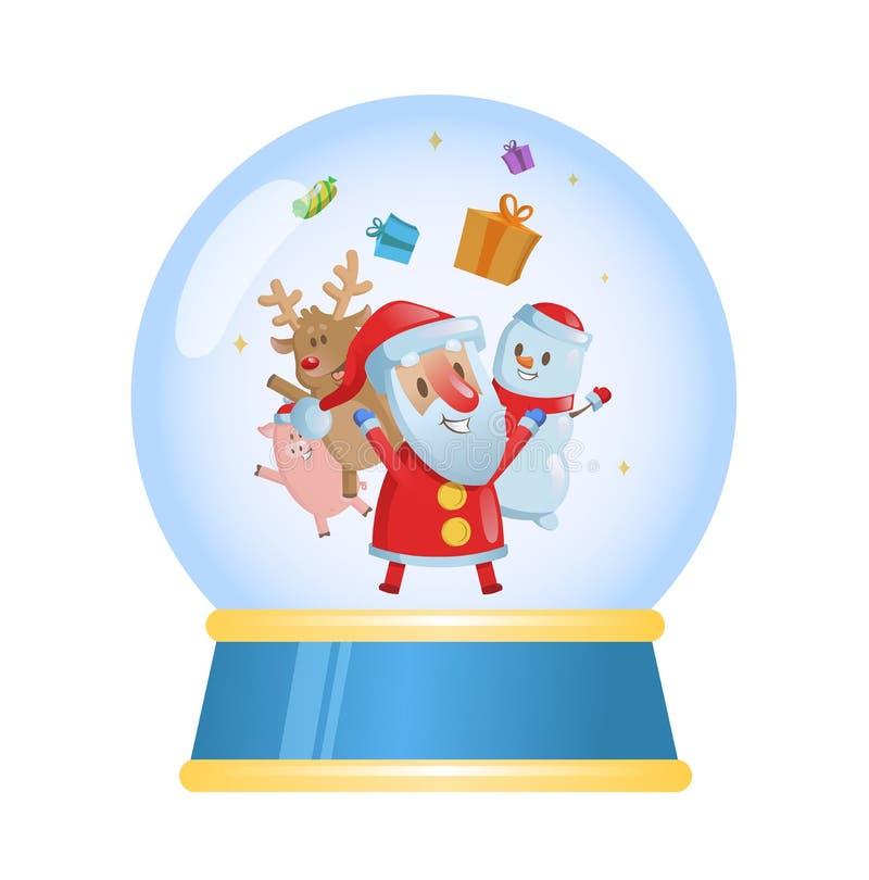 Bola de cristal de la Feliz Navidad con Papá Noel y sus amigos Ejemplo plano del vector Aislado en el fondo blanco ilustración del vector