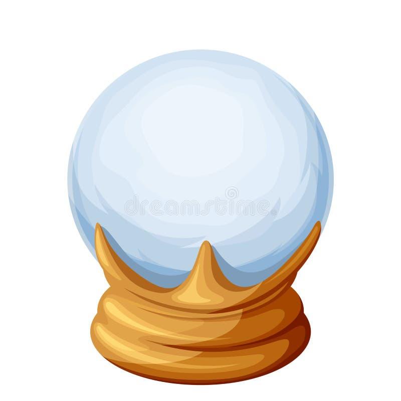 Bola de cristal mágica aislada en blanco Ilustración del vector stock de ilustración
