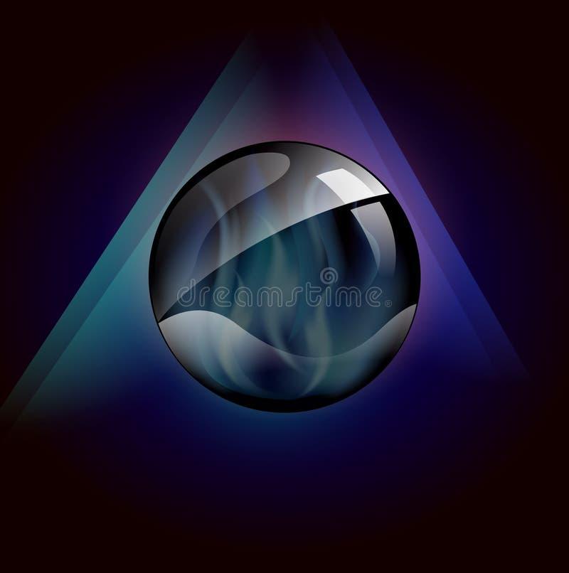 Bola de cristal mágica com as chamas azuis dentro do molde ilustração do vetor