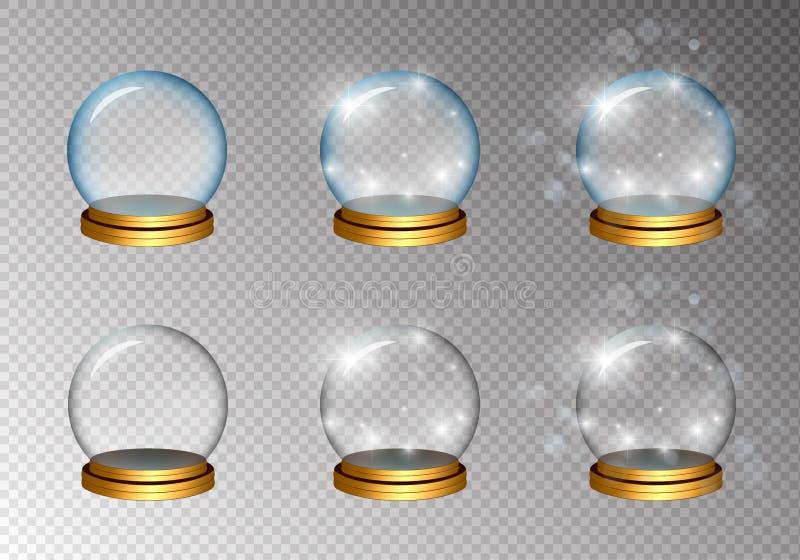 Bola de cristal mágica fijada en bicolor ilustración del vector