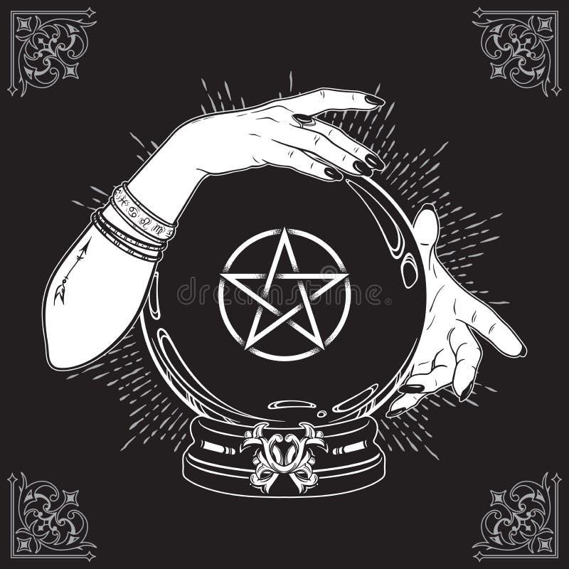 A bola de cristal mágica tirada mão com pentagram protagoniza nas mãos da linha arte do caixa de fortuna e do trabalho do ponto T ilustração royalty free