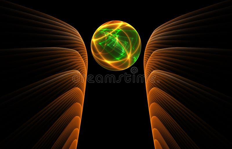 Bola de cristal no fundo preto ilustração do vetor